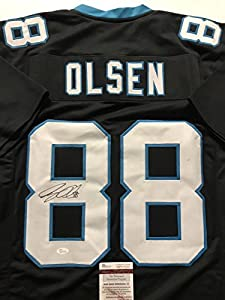 Autographed/Signed Greg Olsen Carolina Panthers Black Football Jersey JSA COA