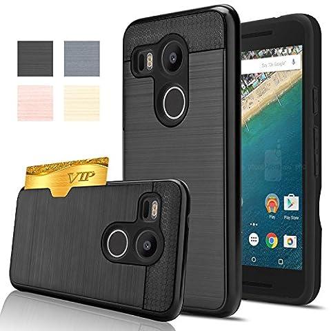 Nexus 5X Case, AnoKe [Credit Card Slots Holder][Not Wallet] Hard silicone Rubber Hybrid Armor Shockproof Protective Holster Cover Case for Google Nexus 5X - KLS Black (Nexus 4 Anime Case)