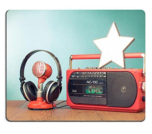 Luxlady Mousepad Star retro radio cassette player microphone headphones IMAGE 24381923