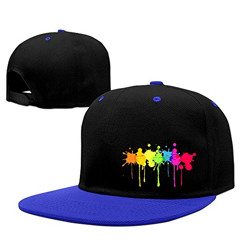 Rainbow Paint Splatter Hip Hop Adjustable Fitted Hat RoyalBlue - Paint Splatter Cap