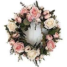 Haperlare Handmade Pink Peony Wreath Floral Artificial Simulation Garland Wreath Pink Wreath Christmas Wreath for Home Door Christmas Wedding Party Decoration 12.5 inch