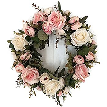 Amazon spring floral hydrangea door wreath multi home kitchen adeeing handmade floral artificial simulation peony flowers garland wreath for home party decor pink mightylinksfo