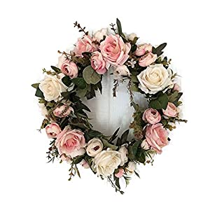 Haperlare Peony Hydrangea Wreath Floral Artificial Simulation Garland Wreath for Home Party Decro 30