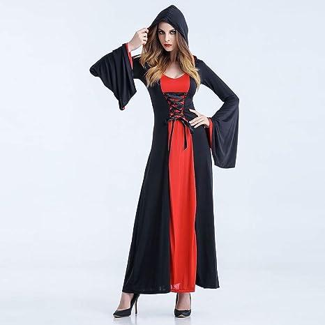 Disfraz De Halloween Mujer Diablo Bruja Falda Larga Cosplay Juego ...