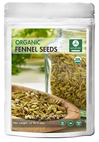 Fennel Seeds, 1 Pound - Organic Foeniculum Vulgare Raw Whole (Seed Whole Organic Pouch)
