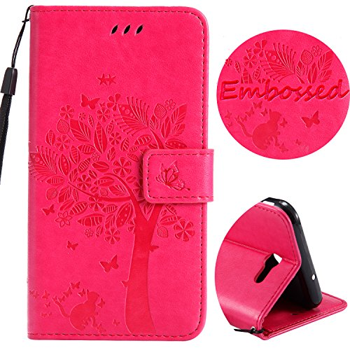 (Wallet Leather Flip Case for Galaxy J7 V,J7 Perx,J7 Sky Pro with [Tempered Glass Screen Protector], Embossed Tree Butterfly Pattern with Kickstand, Embedded Durable Magnetic case for J7 2017(Rose))