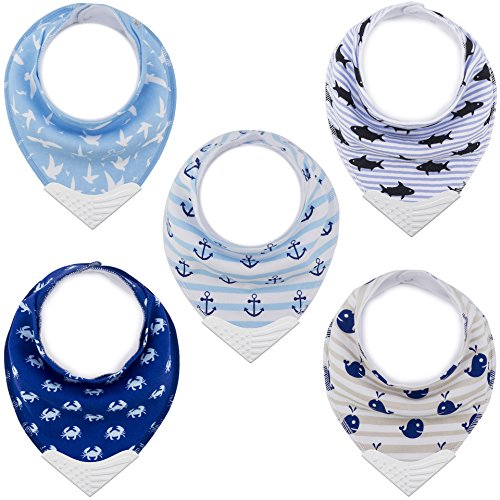 Bandana Bibs with Teething Corner, Teething Bib by Giftty, BPA-Free Silicone Teether and Adjustable Snap for Baby Boys, (Aqua, 5-Pack)