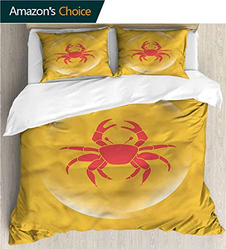 "Bedspread Set Queen Size,Box Stitched,Soft,Breathable,Hypoallergenic,Fade Resistant Print,Decorative Quilted 3 Piece Coverlet Set With 2 Pillow Shams-Crabs Icon In Bubble Seafood (90""W x 90""L)"