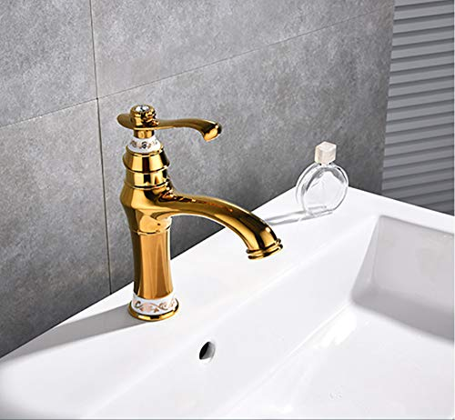 (Xiehao Basin Faucets Euro Luxury Gold Jade Deck Bathroom Sink Faucet Single Handle Bath Vanity Taps Mixer Brass Made)