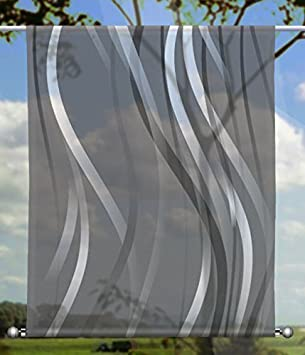 Verschiedenen Gr/ö/ßen Toller Scheibenh/änger aus Feiner Voile HxB 75x60cm gardinen-for-life Scheibenh/änger Linia Grey rechteckig mit Beschwerung