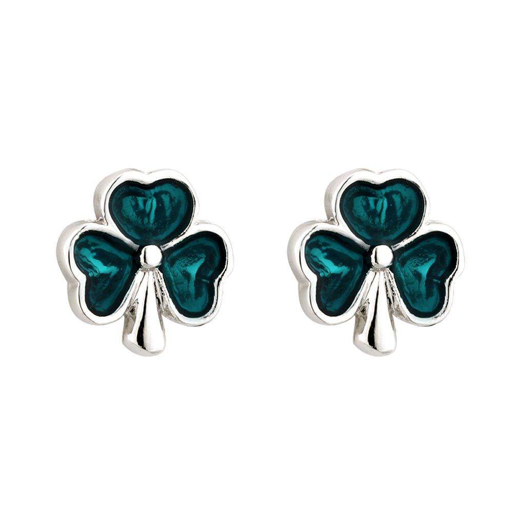 Shamrock Earrings Studs Rhodium Plated /& Enamel Irish Made