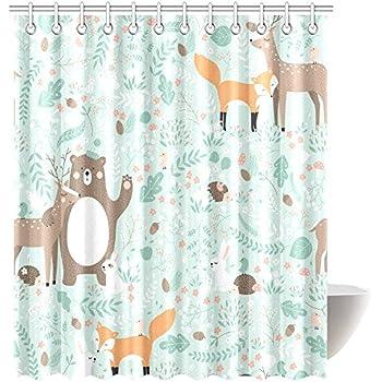 Exceptional InterestPrint Girls Boys Kids Baby Lover Decor Shower Curtain, Woodland  Forest Animals Trees Birds Bear