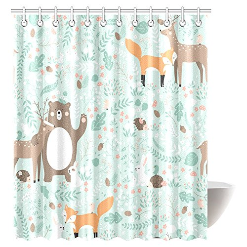 InterestPrint Girls Boys Kids Baby Lover Decor Shower Curtain, Woodland Forest Animals Trees Birds Bear Fox Deer Rabbit Deco Bathroom Shower Curtain Set with Hooks, 72 X 72 Inches Extra Long - Baby Shower Deco