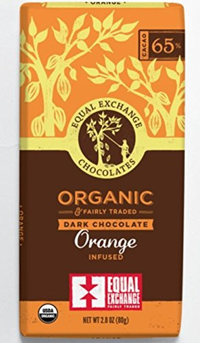 Equal Exchange Organic Orange Chocolate, 12 Count 1 This mouthwatering bar is a blend of smooth dark chocolate and ripe, refreshing orange the bright citrus taste will satisfy your cravings for something sweet and fruity Vegan and soy free Flavor:Dark Chocolate Cherry Cashew No Hydrogenated Oils Or Trans Fats Labeled Gluten And Wheat Free Good Source Of Fiber Low Glycemic Index