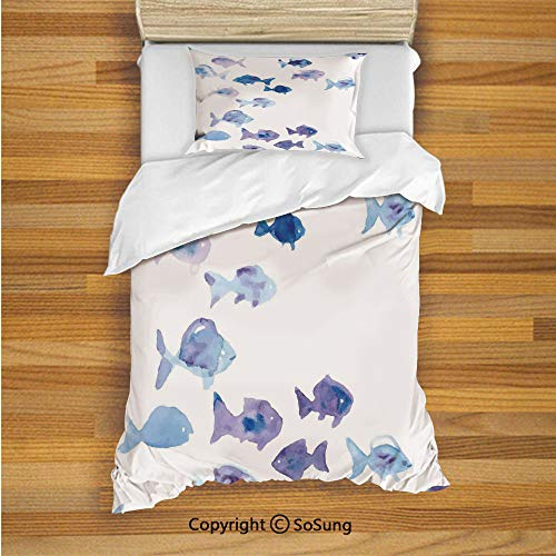 Animal Kids Duvet Cover Set Twin Size, Cute Little Fishes Watercolors Ocean Underwater Life Marine Theme Artwork 2 Piece Bedding Set with 1 Pillow Sham,Baby Blue Blue Mauve
