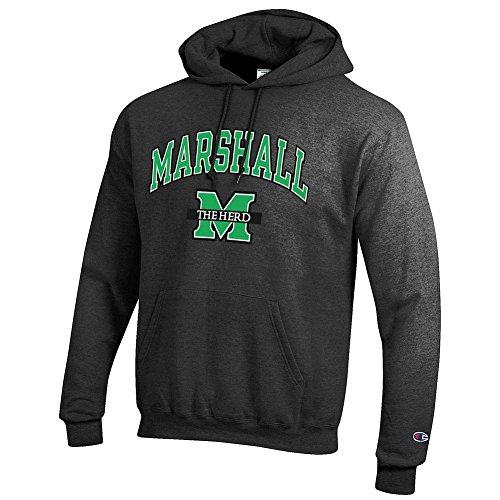 Elite Fan Shop NCAA Marshall Thundering Herd Men's Hoodie Sweatshirt Dark Charcoal Gray, Dark Heather, XX-Large - Marshall Thundering Herd Pocket