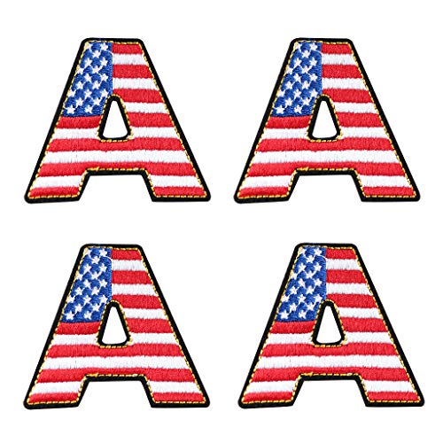 4 Pcs America A Letter Iron On Sew On Embroidered Patch, Applique Patch, Cool Patches for Men, Women, Boys, Girls, Kids