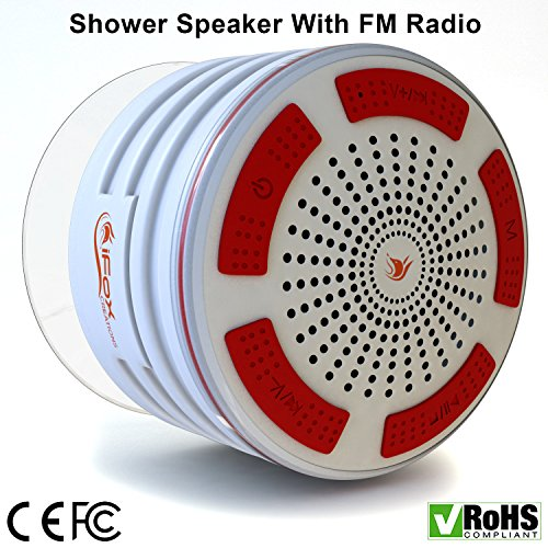 iFox iF013 Bluetooth Shower Speaker - 100% Waterproof Shower Radio. Wireless It Pairs To All Bluetooth Devices - Phones, Tablets, Computer, Games - White