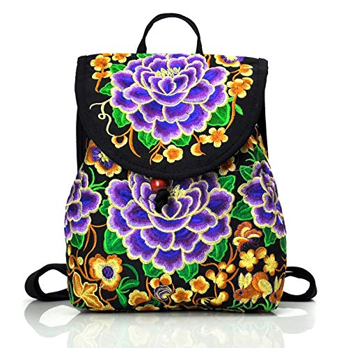 Women's Ethnic Backpack Casual Floral Backpack Embroidery Daypack Purple Flower