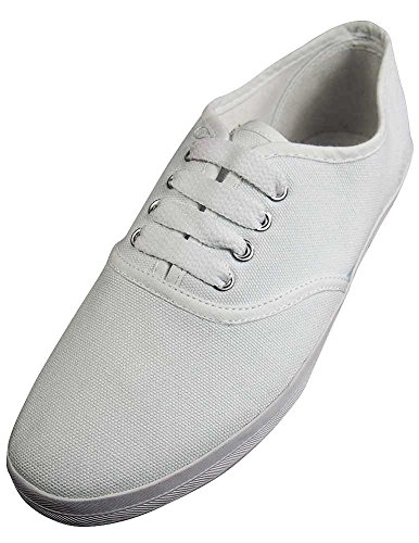 Women's Canvas All White Lace Sneakers (White) - 2