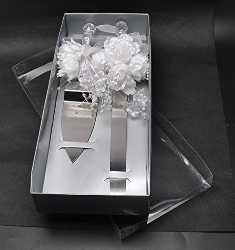 Abbie Home Stainless Steel Wedding Cake Knife and Server Set With Beaded White Flower ()