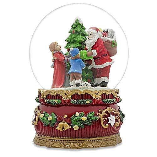 BestPysanky Santa Giving Musical Box Snow Globe