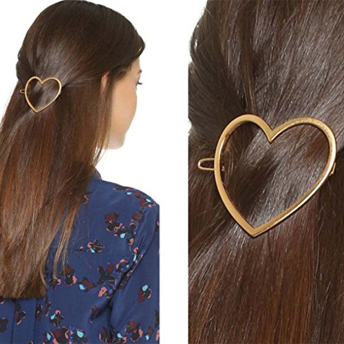 Leiothrix Elegant Golden Alloy Heart-shaped Hair Clip for Women and Girls on any Occasion ()