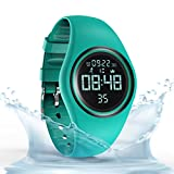 Synwoo Pedometer Watch IP68 Waterproof Sport Wristwatch with Step Distance Calorie Alarm Clock and Timer Function for Kid Teenager and Adult (Green)