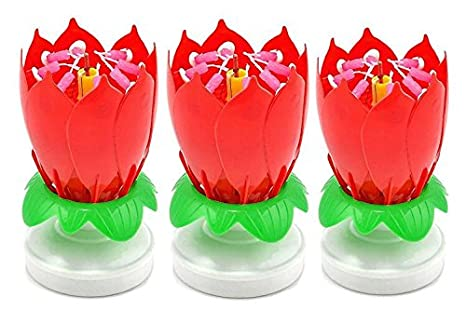 Bbshop 3 Pack Romantic Happy Birthday Music Play Lotus Candle Magic