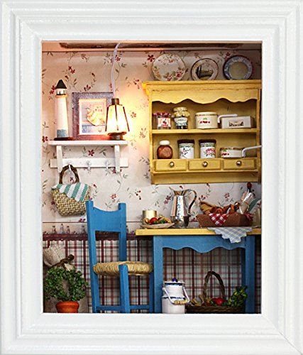 Flever Dollhouse Miniature DIY House Kit Creative Room with Furniture and Frame Type for Romantic Valentine's Gift(Leisurely Lunch)
