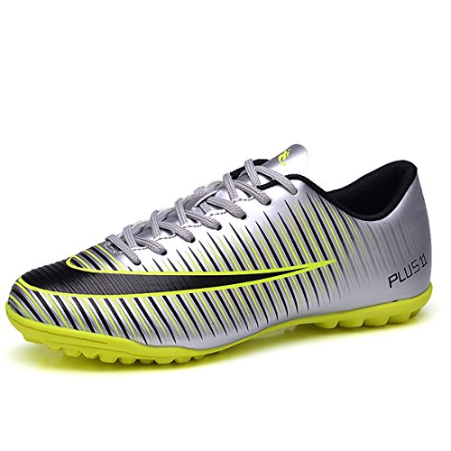 BADIER Kids Soccer Shoes Men Indoor Outdoor Football Boots Athletic Turf Mundial Team Cleat Running Sports Lightweight Breathable Anti-Skid Damping Shoes Silver 42 (Soccer Outdoor Turf Shoes)