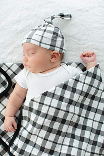 Baby Be Mine Newborn Baby Swaddle Blanket with Matching Knotted Hat, Black ()