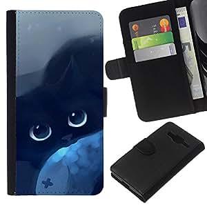 All Phone Most Case / Oferta Especial Cáscara Funda de cuero Monedero Cubierta de proteccion Caso / Wallet Case for Samsung Galaxy Core Prime // Cat Blue Eyes Black Night Drawing Mysticism