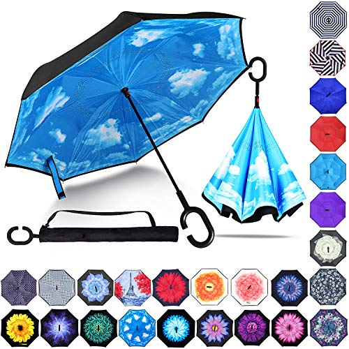 Zameka Double Layer Inverted Umbrellas Reverse Folding Umbrella Windproof UV Protection Big Straight Umbrella Inside Out Upside Down for Car Rain Outdoor with C-Shaped Handle (New Sky)