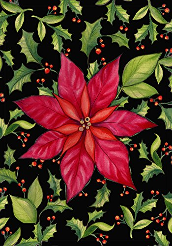 (Toland Home Garden Poinsettia 12.5 x 18 Inch Decorative Colorful Red Christmas Flower Holly Leaf Garden Flag -)