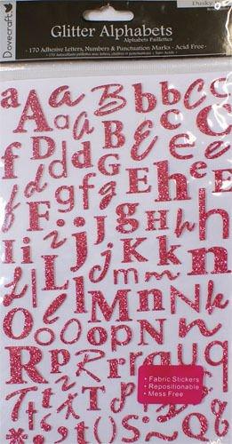 Dovecraft Autocollants à paillettes Lettres de l'alphabet Rose Trimcraft DCAS15