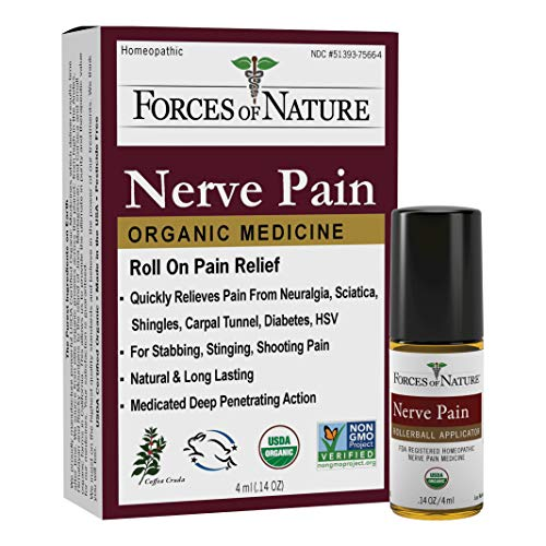 Forces of Nature -Natural, Organic Nerve Pain Relief (4ml) Non GMO, No Harmful Chemicals -Fast Acting Anti-Inflammatory Relief for Pain Associated with Sciatica, Diabetes, Shingles, Neuropathy