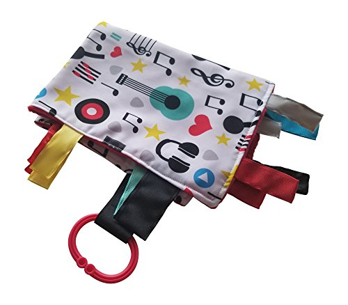 """Baby Sensory, Security & Teething Closed Ribbon Tag Lovey Blanket with Minky Dot Fabric: 14""""X18"""" (Music) For Sale"""