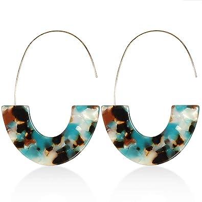 Girls /& ladies Fashion Retro Leopard Tortoise Acrylic Resin Circle Hoop Earrings