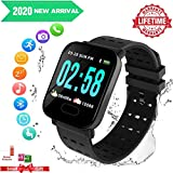 Bluetooth Smartwatch Touch Screen Waterproof Wrist Watch for Unisex Fitness Tracker Compatible Android Phones Samsung Huawei (Black)