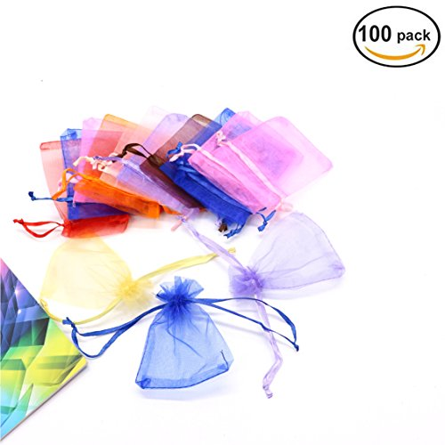 IDS 100 Pieces Organza Gift Bags Mixed Colors Wedding Party Favor Bags Drawstring Jewelry Pouches,7x9cm