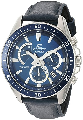 (Casio Men's 'Edifice' Quartz Stainless Steel and Leather Watch, Color: Blue (Model: EFR-552L-2AVCF))