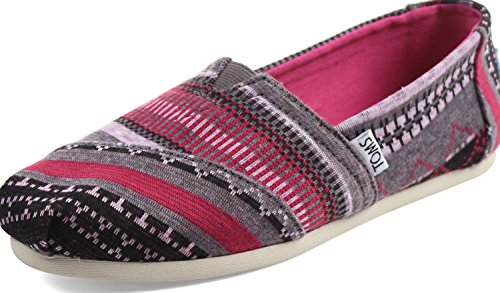 TOMS Women's Classics Fuchsia Tribal Jersey Loafer