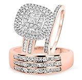 Smjewels 1 2/3 Ct Sim Diamond Men's & Women's Engagement Ring Trio Bridal Set 14K Rose Gold Fn