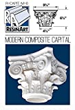 Modern Composite Capital for Hollow Column - S Size - Composite Resin - Unfinished - Paint Ready - Load Bearing - Dimensions In Images/Details