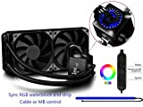 DEEPCOOL CAPTAIN 240EX RGB, Liquid CPU Cooler, Sync RGB Waterblock and Strip, Cable or Motherboard Control, 2×120mm PWM Fans, AM4 Compatible, 3-year Warranty