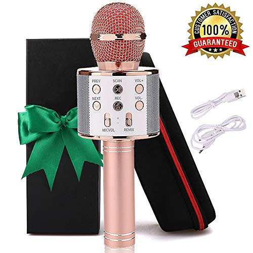 Karaoke Bluetooth Wireless Microphone 3 in 1 Portable Handheld Mic Speaker Machine for Company Meeting Family Kids Party - Compatible iPhone, Android, iPad, PC and all Smartphones (Rose Gold Plus)