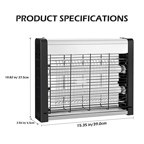 Electric Bug Zapper, Indoor Fly Insect Killer Catcher with 20W UV Light Replaceable Bulbs-Mosquito, Moth, Fly Killer, etc. Suitable for Hanging & Standing in Residential and Commercial Use (15.35) by Ersoth (Image #8)