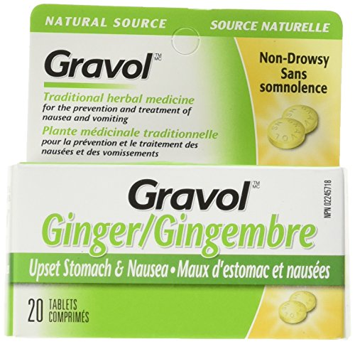 Gravol Ginger Tablets for Upset Stomach and Nausea, 20 Tablets