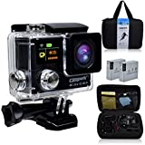 Campark® Ultrathin 4K 25fps/1080p 60fps Wifi Waterproof Sports Action Camera Dual-screen,time Lapse,burst Photo,independent Apps for Ios and Android,2pcs 1050mAh Batteries Included